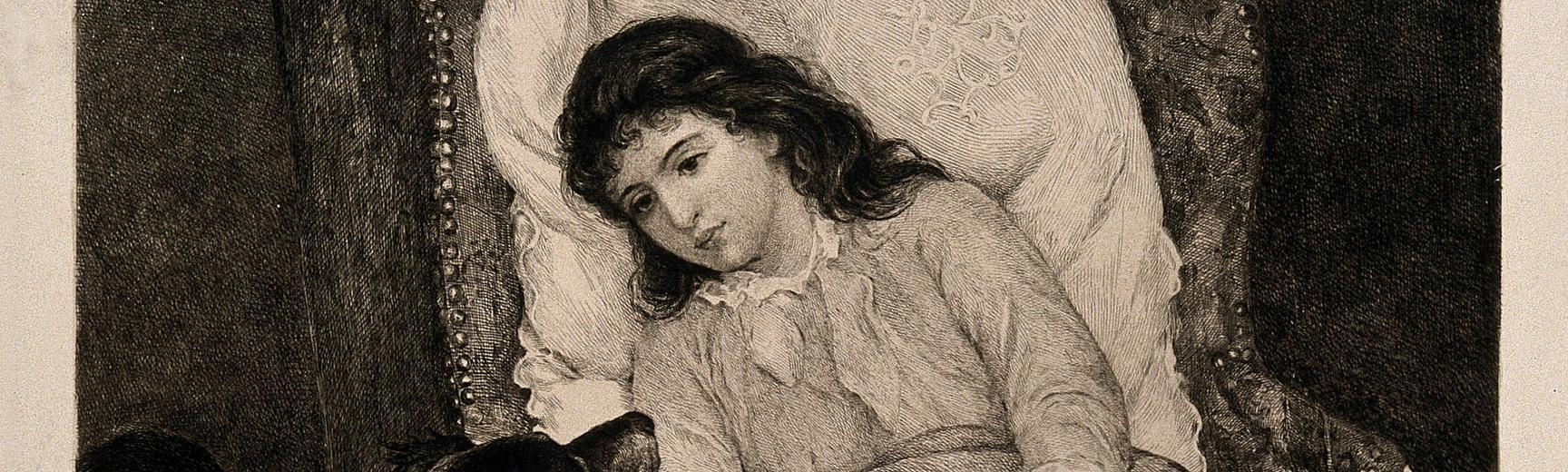 'A young girl convalescing in an armchair is visited by her dog. Etching by H. Formstecher after H. Bacon.'