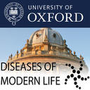 Logo for Diseases of Modern Life superimposed on the Radcliffe Camera