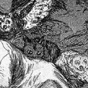Detail from an engraving. The engraving shows a man asleep at a desk with dreamy owls swarming around his shoulders.