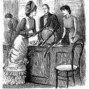 In this illustration for Punch magazine (1880), George du Maurier shows a customer passing a chair to an overworked shop assistant.