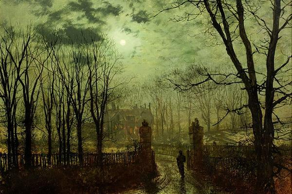 Painting, At the Park Gate, by John Atkinson Grimshaw
