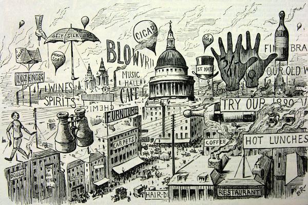 Punch image of advertisements in London