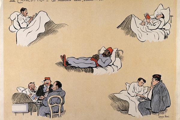 Cartoon, 'L'apres Midi', showing various people in hospital beds