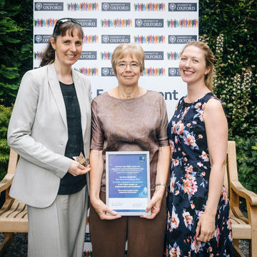 Photograph of Sally Shuttleworth accepting the award
