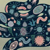 Cartoon of various bacteria inside an intestine