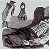 Black-and-white print of a dozing man with alarm clock