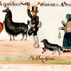 Gouache showing traditionally-dressed people whipping llamas